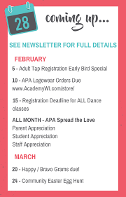 Monthly Newsletter – February 2018 – Academy of Performing Arts