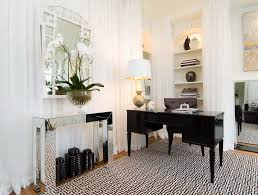 mirror decoration on wall home office contemporary with black and white wood desk built in shelves black and white home office