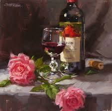 i m happy to announce that my painting below wine roses was awarded second place in the oil thank you associated artists