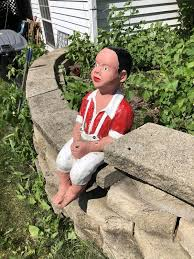 vintage fishing boy americana concrete heavy garden statue for in north aurora il offerup
