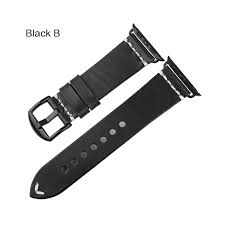 maikes new arrival real genuine leather vintage changeable for apple watch band accessories 38 42mm iwatch apple watch strap band color black b band width