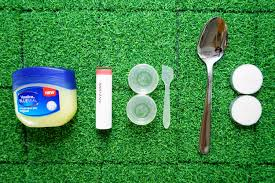 you would need vaseline lipstick of your choice small containers spatula toothpick spoon candle v simple items