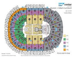 Sap Center Seating Chart Concert 79 Bright Sap Centre Events