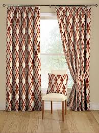 red and orange modern geometric curtains image