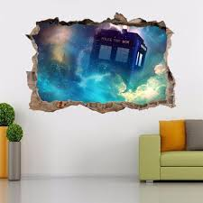 tardis dr who smashed wall decal removable graphic wall sticker art mural h292
