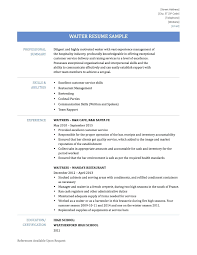 Waiter Resume Sample waiters resume sample Onwebioinnovateco 48