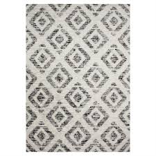 novelle home meridian grey diamond pattern distressed area rug