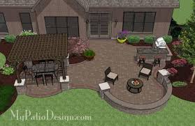 Small Picture Large Curvy Patio Design with Grill Station Seat Walls