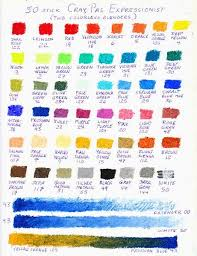 Color Chart Of 50 Craypas Expressionist Oil Pastels In 2019