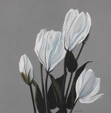 saatchi art artist cathy savels painting lisianthus flower painting white gray large  on black and white tulip wall art with saatchi art lisianthus flower painting white gray large botanical