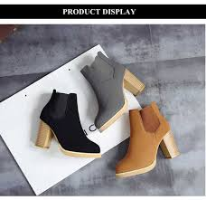 fashionable pointed toe elastic band thick high heel ankle boots for women
