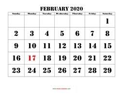 Small Printable 2020 Calendar February 2020 Printable Calendar Free Download Monthly