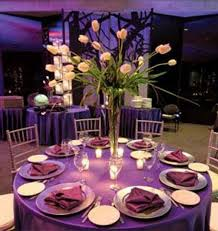 ... Purple Wedding Centerpieces Decoration : Gorgeous Dining Table  Decoration For Wedding Party Using Round Table Combine ...