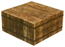 butcher block with metal square coffee