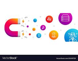 3d Chart Location And Cogwheel Icons Set Servers