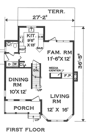 first floor image of narrow lot victorian house plan