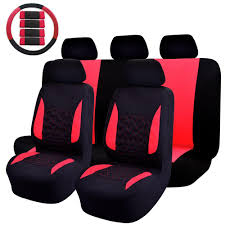 47 in x 23 in x 1 in car seat cover universal fit full set sports fabric seat cover red black 14 piece nb007 red the home depot