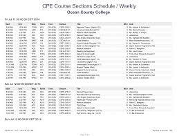 Cpe Course Sections Schedule Weekly