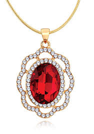 spargz gold plated fusion oval shape red stone wedding pendant necklaces with stud earrings for women best s in india rediff ping