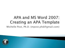 apa format on word apa 6th ed ms word 2007 template tutorial v1