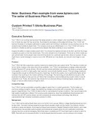 Business Plan Summary Example Pdf Executive Sample Startup Personal