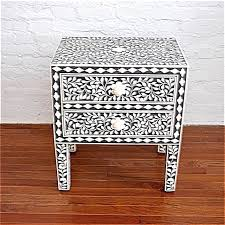 bone inlay nightstand. Brilliant Bone Indian Bone Inlaid Nightstand Table 2 Drawers Black And Inlay