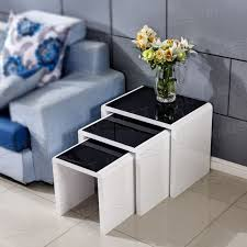 high gloss coffee table black top tempered glass white nest livingroom furniture