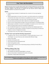 Private Tutor Resume Sample Math Tutor Resume Sample New Job Description Ideas Of Private 21