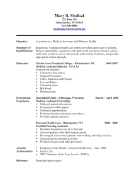 Resume Examples For Medical Assistant With No Experience Archives