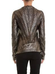 ikrix roberto cavalli crew necks fringe detailed laminated sweater