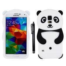 samsung galaxy s5 3d cases. hunye 3d silicone gel skin panda case for samsung galaxy s5 protective cover black/white with stylus pen: amazon.co.uk: electronics 3d cases