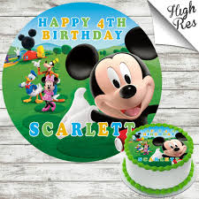 Mickey Mouse Clubhouse Edible Round Birthday Cake Topper Decoration
