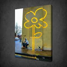 banksy yellow flower canvas wall art pictures print free uk p p variety of sizes
