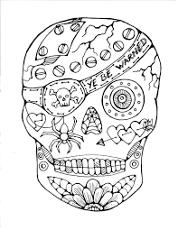 Pirate Sugar Skull Free Coloring Page