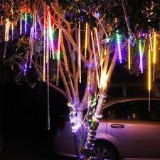 Snowfall Blizzard Led String Light 8 Tubes Meteor Shower String Lights Snowfall Rain Led Christmas Tree Yard Decor