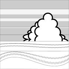 塗り絵に最適な白黒でかわいい夏の海辺の無料イラスト商用フリー
