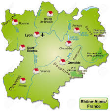 Rhone Size Chart Map Of Rhone Alpes As An Overview Map In Green