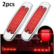 Red Side Light On Boat Best Discount 3fc21 2pcs Red 12 Led Bus Boat Tractors