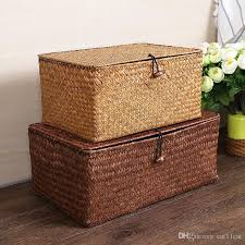 woven basket with lid. Handmade Seagrass Woven Storage Box Finishing Basket Seaweed With Lid Sundry Bath Cosmetic Towel Container R