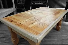 Hand crafted bespoke branded wine box coffee table. This is crafted from  branded wine box