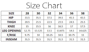 Skinny Jeans Size Chart Online Shopping In Pakistan