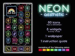 Apple iOS 14 App Icons Neon Rainbow ...