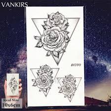 Vankirs геометрические временные пионы цветок татуировки женские черные поддельные