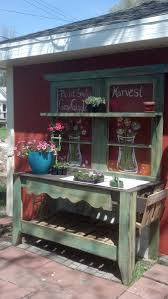 potting bench made from old doors pallets painted windows love