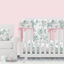 boho cactus modern baby girl crib bedding nursery set black and blue cute sets cocalo with