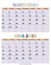 Blank Printable March April 2020 Calendar Color 2020