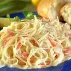 angel hair pasta and crab with alfredo sauce