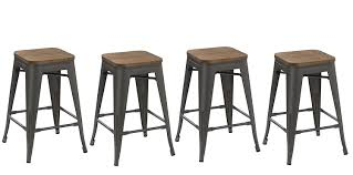 wooden seat bar stools. Amazon.com: BTEXPERT 24-inch Metal Vintage Antique Style Gunmetal Counter Height Bar Stool Modern Handmade Wood Top Seat (Set Of 4 Barstool): Kitchen \u0026 Wooden Stools