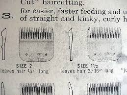 Vintage 1940s Barberhop Oster Clipper Size Chart Drawings