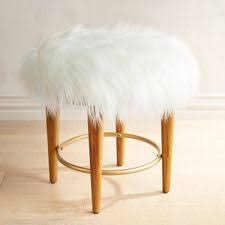 Vanity stools with back Bathroom Kate Faux Fur Vanity Stool Pier Bedroom Benches Vanity Stools And Chairs Pier Imports